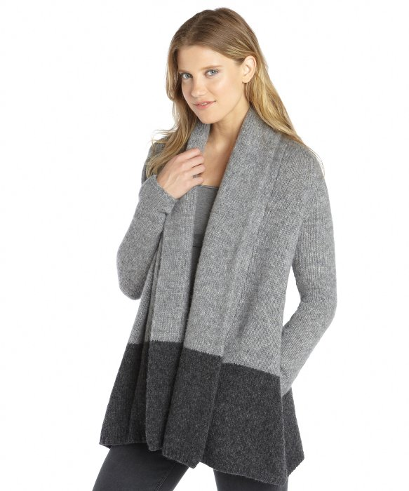 Wyatt two tone grey knit waterfall cardigan | BLUEFLY up to 70% off designer brands