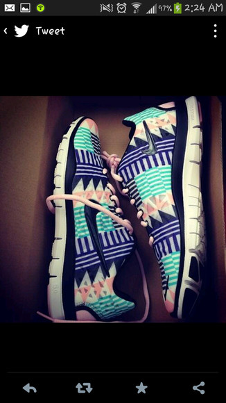 shoes nike white nike running shoes pink turquoise aztec tribal pattern