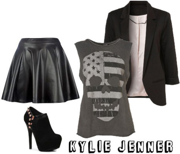 skirt blouse shoes jacket