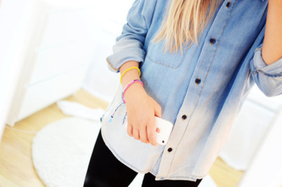 shirt blue dip dyed fashion denim fall autumn iphone black pants girl blonde dip-dye dip dyed shirt white skirt