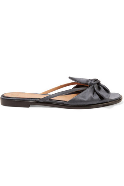 The Row - April Bow-embellished Silk-satin Sandals - Storm blue
