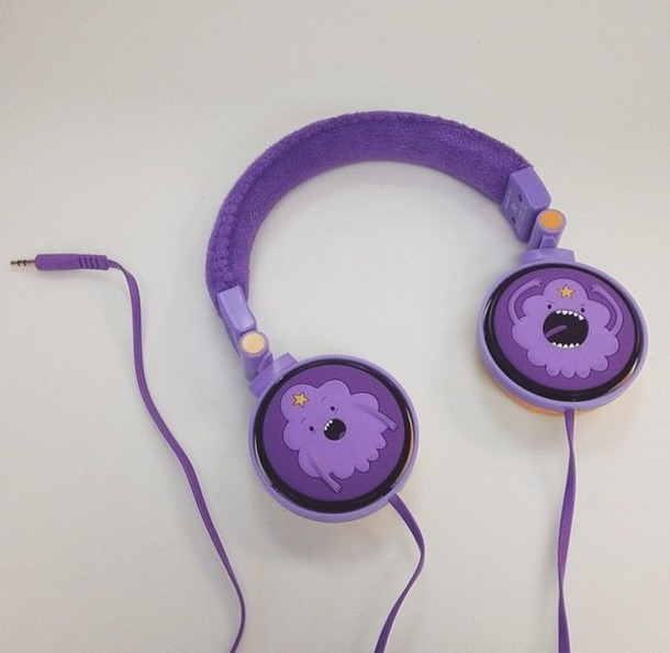 earphones adventure time purple space princess printed headphones