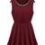 Red Round Neck Sleeveless Bead Pleated Sundress - Sheinside.com