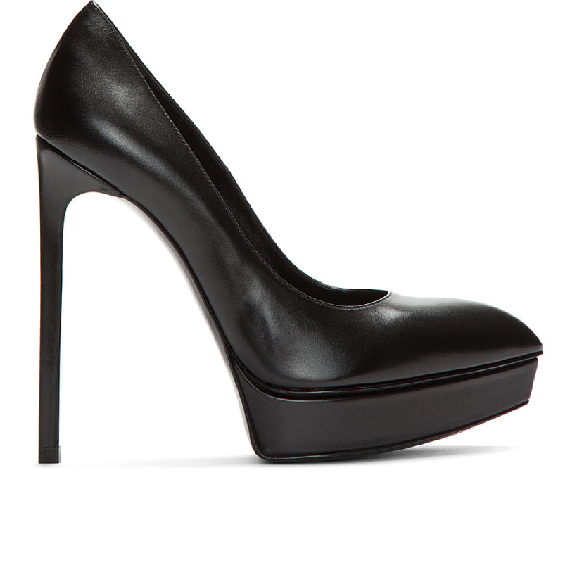 Saint Laurent - Black Leather Classic Janis Platform Pumps | SSENSE