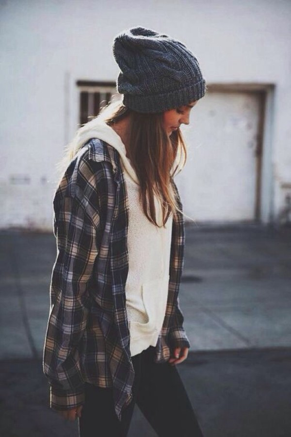 blouse plaid shirt shirt hippie hipster beanie jacket cardigan