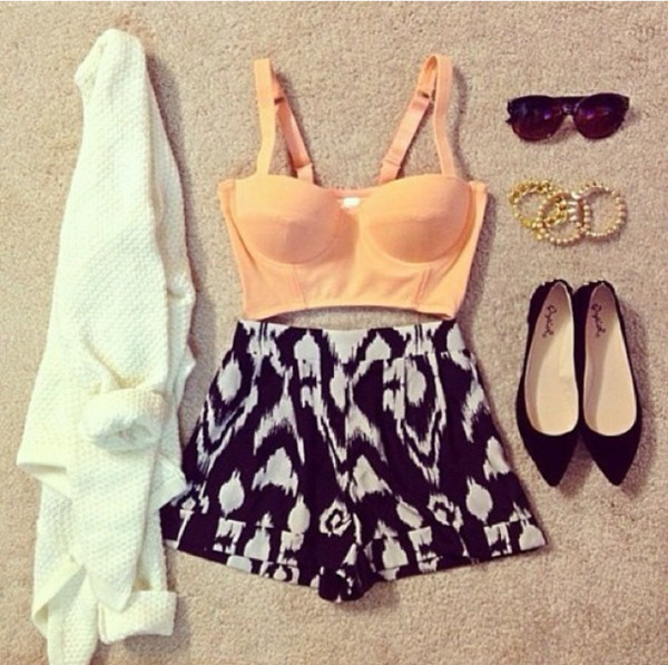 shorts shirt sweater sunglasses shoes jewels bullet bra underwear