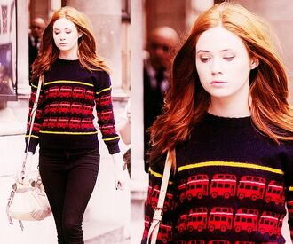 sweater jumper blue navy red yellow london karen gillan