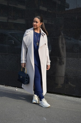 pbth blogger long coat blue jumpsuit
