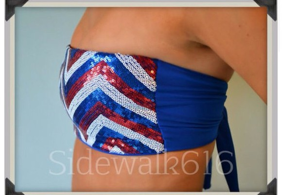red white and blue swimwear bikini bandeau bikini chevron print