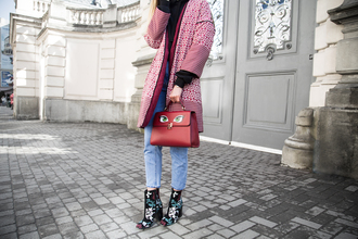 fashion agony blogger coat sweater jeans shoes bag pink coat handbag printed ankle boots ankle boots spring outfits