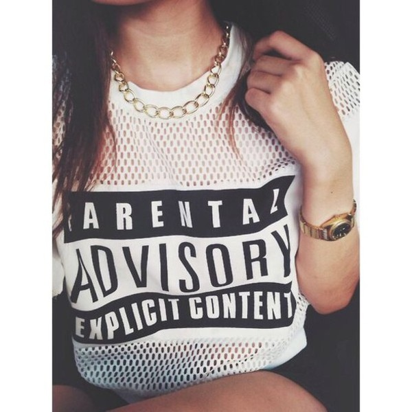 t-shirt t-shirt t-shirt advisory white mesh mesh tee parental advisory explicit content parental advisory explicit content