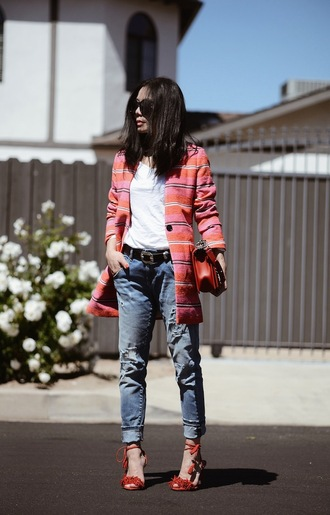 hallie daily blogger shoes aquazzura aquazzura sandals red sandals red high heels red high heel sandals denim boyfriend jeans ripped jeans blue jeans top white top coat striped coat spring coat bag red bag pink coat sunglasses spring outfits chic