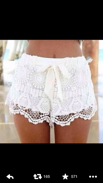 shorts white crochet shorts