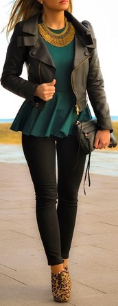 jacket,black leather jacket,t-shirt,sexy,leopard print,sleek,class,shirt,leather jacket,dressy shirt,green blouse,girls clothing,blouse,pants,cute,outfit,peplum top,shoes,booties,heels,peplum blouse,emerald green,gold,necklace,chic,black,jewels,black pants,purse,peplum,coat,top,tights,leggings,jeggings