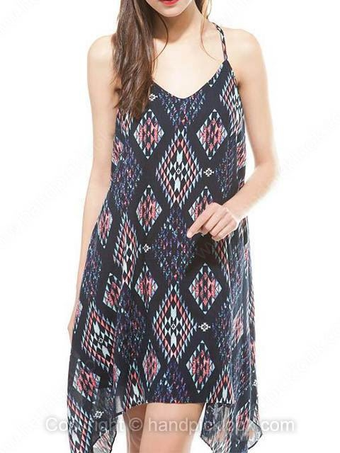 Navy Spaghetti Strap Sleeveless Geometric Print Dress - HandpickLook.com
