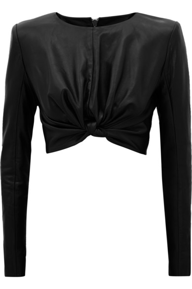 Balmain | Cropped leather top | NET-A-PORTER.COM
