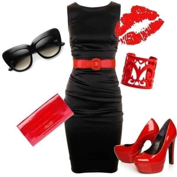 dress черное платье красный пояс красный браслет красные туфли красная сумка очки bag belt sunglasses shoes jewels