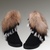 UGG Short Fox Fur 8288 Black Boots : UGGS OUTLET