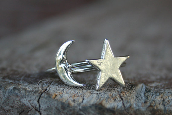 Love You To The Moon & Stars Ring Combo Sterling by ArmoredJewelry