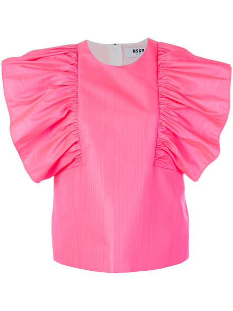 MSGM blouse women purple pink top