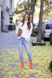 something navy,blogger,jeans,bag,sunglasses,jewels,orange,boots,snake print,turtleneck