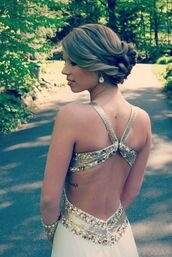 dress,backless dress,ivory dress,prom dress,backless,rhinestones,open back,prom,sparkle,backless prom dress,back prom openback,gold sparkley silver,formal,debs,white,gold,silver,floor length dress,pretty,amazing,ball gown dress,evening dress,tumblr dress,white open back dress,gold dress,open back dresses,open back prom dress,gold sequins dress,style,prom gown,white dress