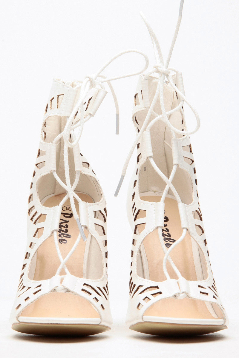 White Lace Up High Heels