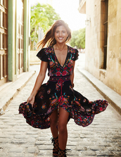 rocky barnes,blogger,sundress,red dress,flowy dress,colorful,black flats,dress,boho dress,gypsy