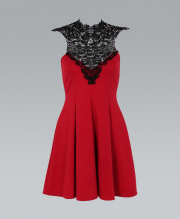 KRISP Lace Crochet Neck Red A-Line Ponte Dress - KRISP from Krisp Clothing UK