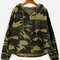 Camo letter print high low hooded coat -shein(sheinside)