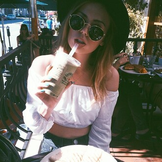 top crop tops pirate white crop tops tumblr outfit sunglasses