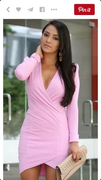 dress pink homecoming wrap dress knee length dress wrap cute light