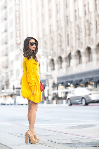 wendy's lookbook blogger bag sunglasses yellow dress thick heel nude heels mini dress long sleeve dress mustard dress