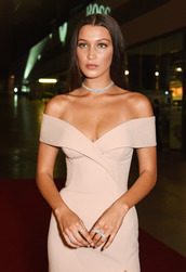 dress,tumblr,bella hadid,model,beautiful,pretty,off the shoulder,off the shoulder dress,nude dress,bardot dress,choker necklace,necklace,natural makeup look,ring,nude,bodycon,bodycon dress,midi,midi dress,party dress,sexy party dresses,sexy,sexy dress,party outfits,sexy outfit,summer dress,summer outfits,spring dress,spring outfits,fall dress,fall outfits,winter dress,winter outfits,classy dress,elegant dress,cocktail dress,cute,cute dress,girly,girly dress,date outfit,birthday dress,summer holidays,holiday dress,clubwear,club dress,wedding clothes,wedding guest,engagement party dress,romantic,romantic dress,romantic summer dress,dope,celebrity style,celebrity,celebstyle for less,red carpet dress,red carpet