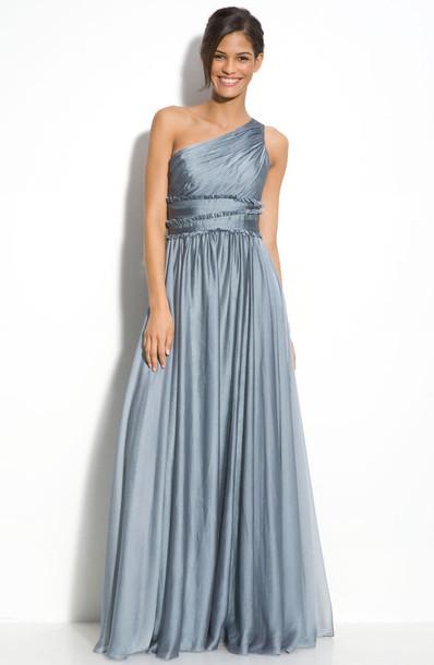 chiffon gray one shoulder dress