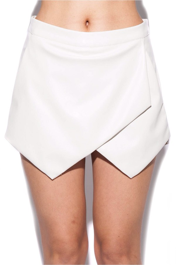 skort pu leather white short t