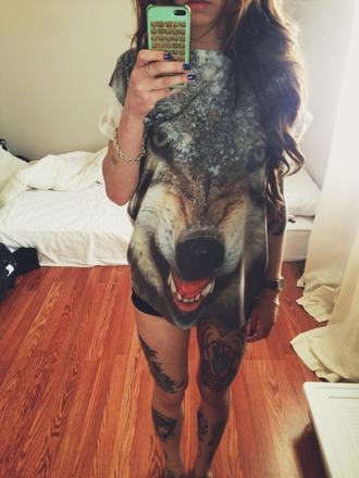 shirt wolf grey print animal crewneck sweatshirt oversized phone cover loose t-shirt iphone case perf long girly girl top