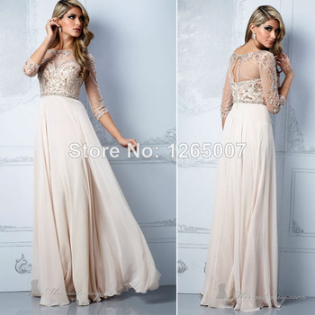 Aliexpress.com : Buy New Arrival Julie High Neck See Through Lace Top Beaded Belt Open Back Chiffon Slit Chiffon Prom Dresses 2014 Fashion Long Gowns from Reliable gown dress suppliers on SFBridal