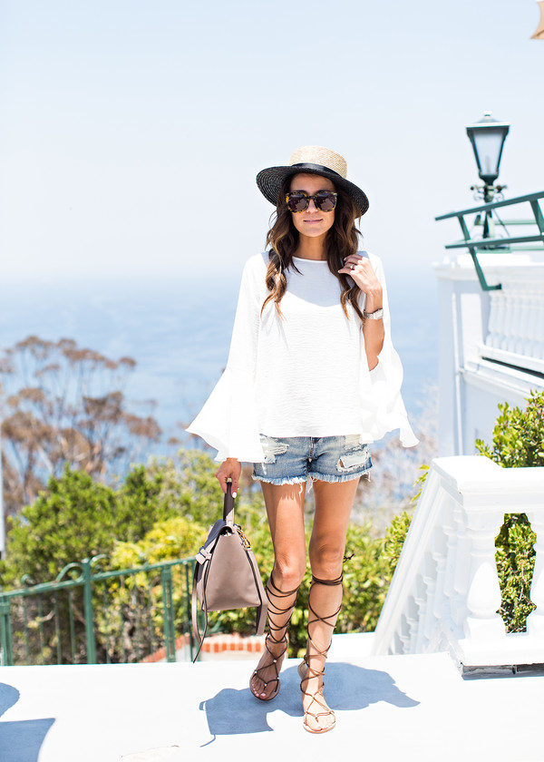 hello fashion blogger jacket blouse shorts shoes belt bag hat