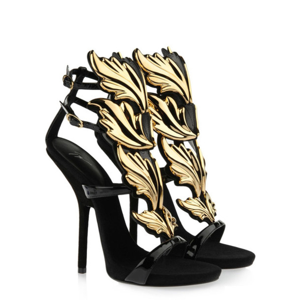 Shoes: gold, black, black heels, black high heels, gold heels ...