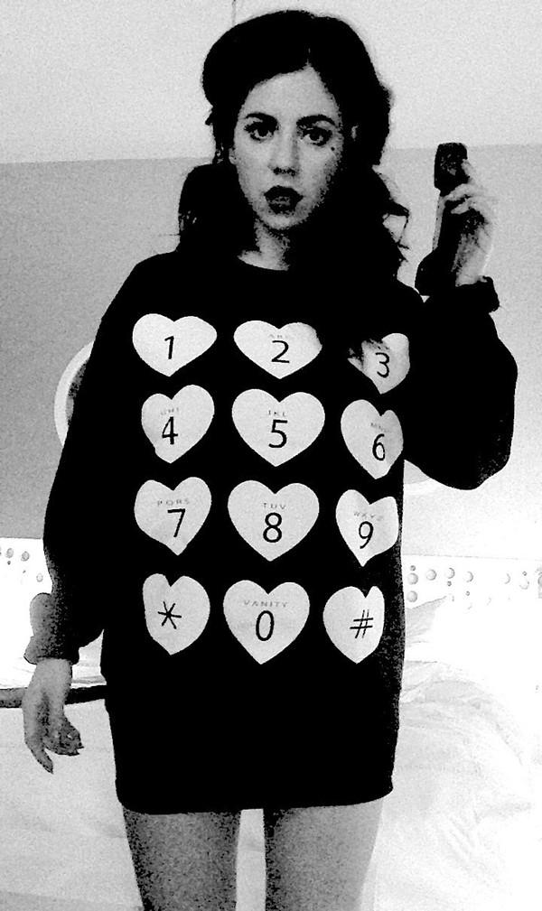 sweater heart telephone cute black marina and the diamonds phone phone sweater marina and the diamonds number sassy hearts sweatshirt beautiful oversized tumblr oversized sweater tumblr clothes heart sweater heart t-shirt marina diamandis