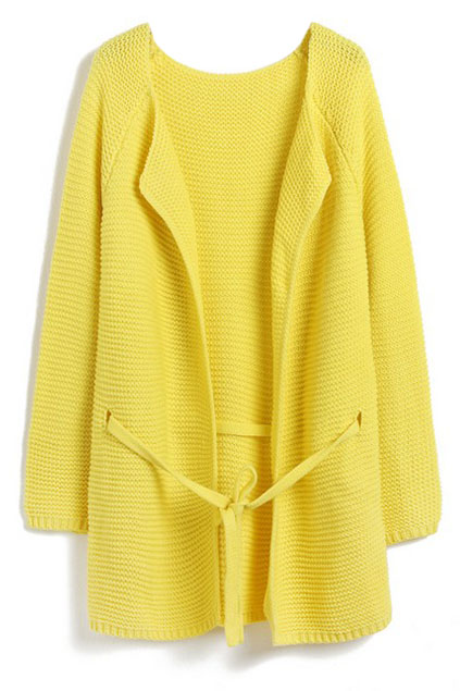 ROMWE | Yellow Long Sleeve Drawstring Loose Cardigan, The Latest Street Fashion