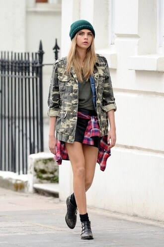 shirt cara delevingne beanie camouflage camo jacket boots plaid shirt grunge hat skirt jacket