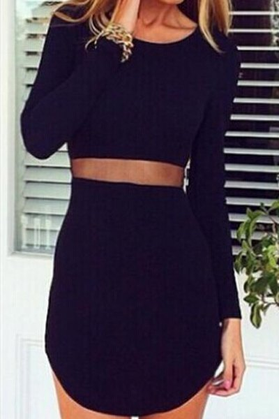 Sexy scoop neck long sleeve asymmetrical see
