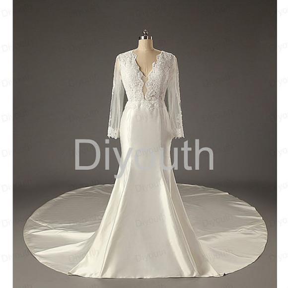 wedding clothes bridal gowns sleeve lace wedding dress v-neck wedding dresses 2015 fashion wedding dress with trail satin wedding dresses custom bridal gown wedding dress plus size wedding fashion wedding dress white bridal gown 2014 bridal dresses