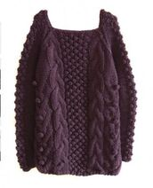 sweater,purple,long sleeves,loose,knit,square neck