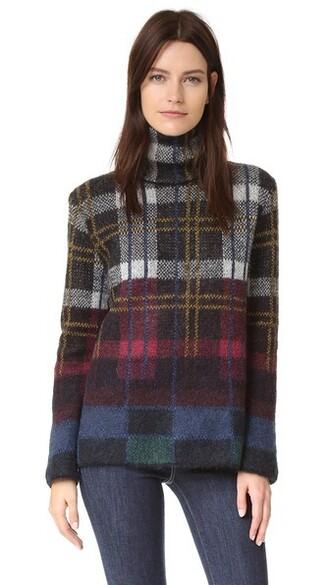 sweater turtleneck turtleneck sweater plaid mohair