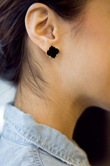 jewels accessories earrings gold studs moroccan black