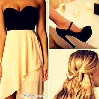 dress black dress white white dress black beige dress beige high heels blonde hair bows shoes creme skirt