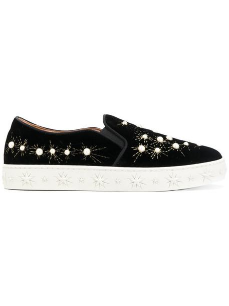 Aquazzura women plastic sneakers leather black velvet shoes